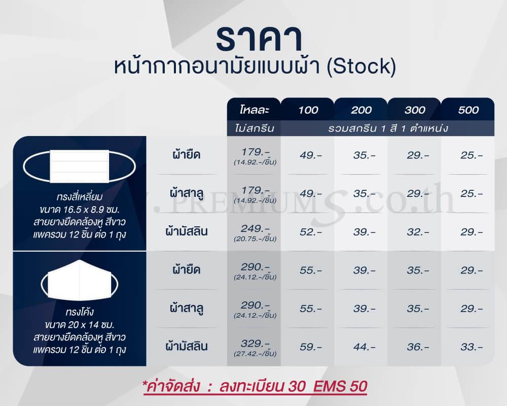 ตารางราคา-หน้ากากอนามัยแบบผ้า-Stock