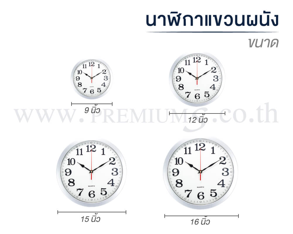 นาฬิกาแขวนผนัง-ขนาด